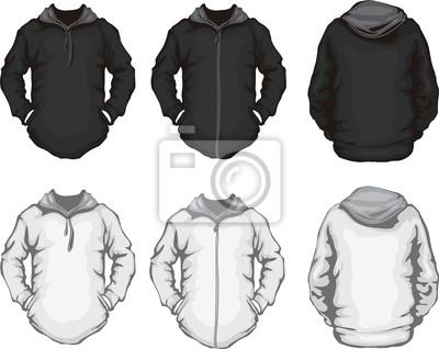 Schwarz weiß herren sweatshirt-vorlage leinwandbilder • bilder ...