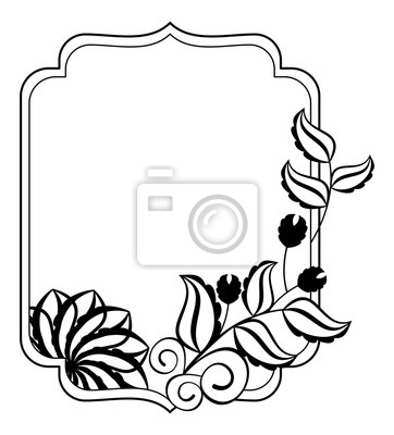 Schwarz Weiß Rahmen Mit Blumen Silhouetten Vektor Clipart