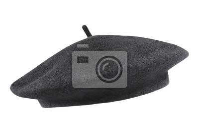 Bild Schwarze französische Kappe des Kappenoberteils lokalisiert auf Weiß