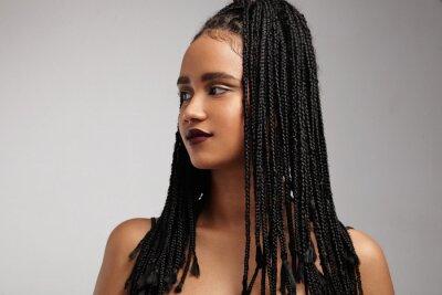 Bild Schwarze Frau Profil. Afrikanische Zöpfe. Falsche Haar-Konzept