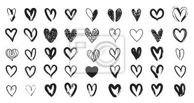 Bild Schwarze Herz Hand gezeichnet. Nette Gekritzelliebe der Ikone.