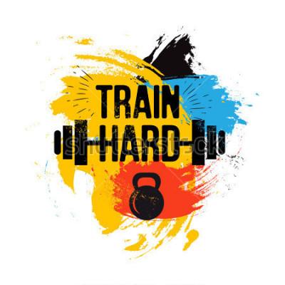 Bild schwarze Kettlebell und Barbell auf bunten Pinsel Hintergrund mit inspirierenden Satz - hart trainieren. Fitness Sport Zitat. Vector Illustration für Bodybuildingclub, T-Shirt, Plakat