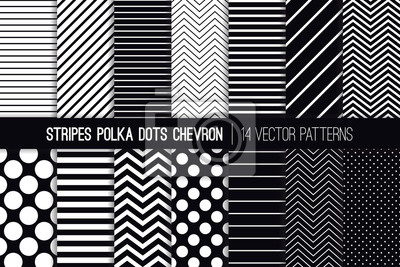 Bild Schwarze und weiße Streifen, Chevron und Polka Dot Vektor Muster. Moderne minimale Hintergründe. Diagonale und horizontale Dickenlinien. Tiny to Jumbo Spots. Muster Fliesenmuster enthalten.