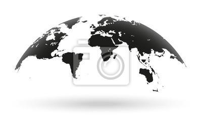 Bild Schwarze Weltkarte Globus isoliert auf weißem Hintergrund