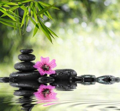 schwarzen Stein und Hibiskus mit Bambus auf dem Wasser