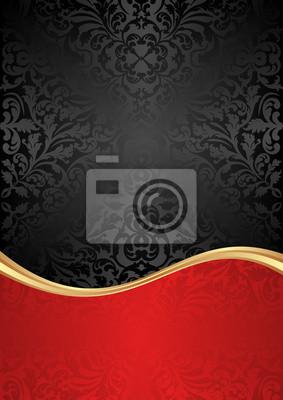 Bild schwarzen und roten Hintergrund mit abstrakten Ornamenten