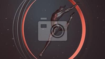 Schwarzer menschlicher Plastikkörper innerhalb des abstrakten Kreises der roten Koralle. Action-Sprung und Tanz-Ballett-Pose. Abbildung der Wiedergabe 3D