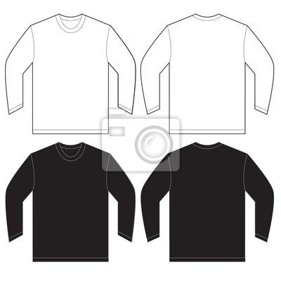 Schwarzes weißes langes hülsen-t-shirt entwurfs-schablone ...