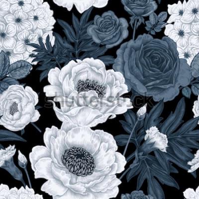 Bild Schwarzweiss-Blumenhintergrund mit Rosen, Pfingstrosen, Hortensien, Gartennelken.