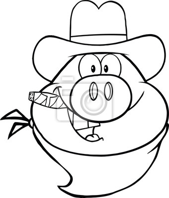 Schwarzweiß Cowboy Schweinekopf Cartoon Charakter Leinwandbilder