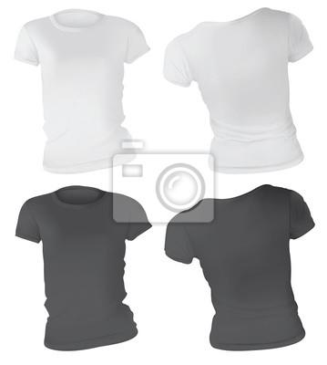 Schwarzweiss-frauen-t-shirt entwurfs-schablone leinwandbilder ...