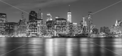 Bild Schwarzweiss-New- Yorkpanorama nachts, USA.