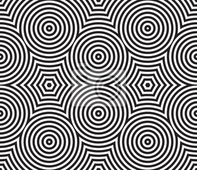 Schwarzweiss-psychedelisches Circular Textilmuster.