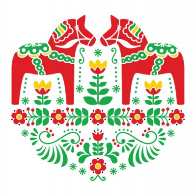 Bild Schwede Dala Pferd oder Daleclarian Blumenvolksmuster