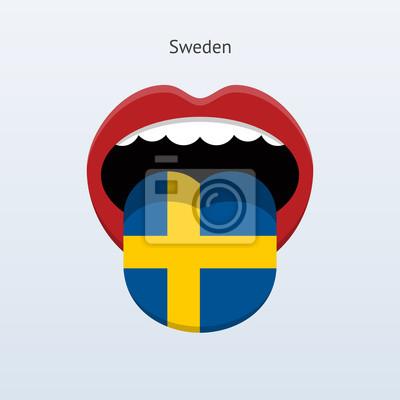 Schweden Sprache. Abstrakt menschliche Zunge.