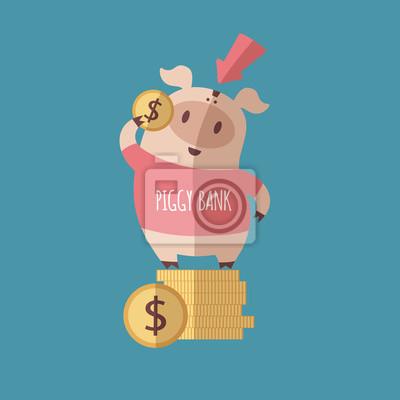 Schwein und Münzen