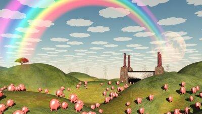 Bild Schweine bewegen sich wie Lemminge in Richtung Fabrik