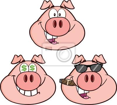 Schweinekopf Cartoon Charaktere 2 Collection Set Leinwandbilder