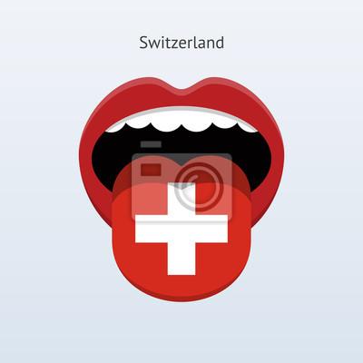Schweiz Sprache. Abstrakt menschliche Zunge.