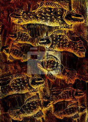 Schwimmen goldenen Fische, Illustration auf abstrakten Hintergrund