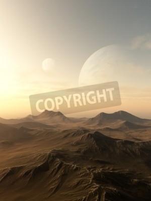 Bild Science-Fiction-Illustration von Planeten, die über den Horizont einer trostlosen fremden Welt, 3d digital gerenderten Illustration