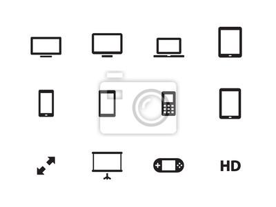 Screens Symbole auf weißem Hintergrund.