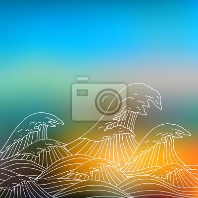 Sea Wellen Hand gezeichnete Skizze unscharfen Hintergrund