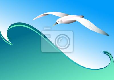 Seagull und Welle. Vector.