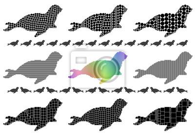 Seal silhouette mosaic set
