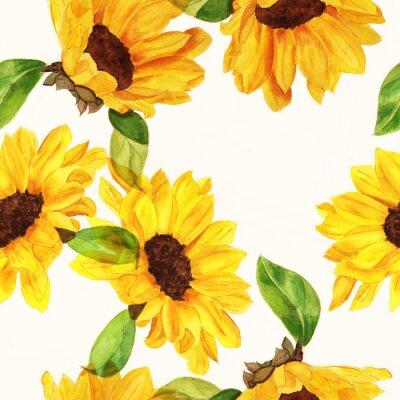 Bild Seamless Aquarellsonnenblumen Muster auf weißem Hintergrund