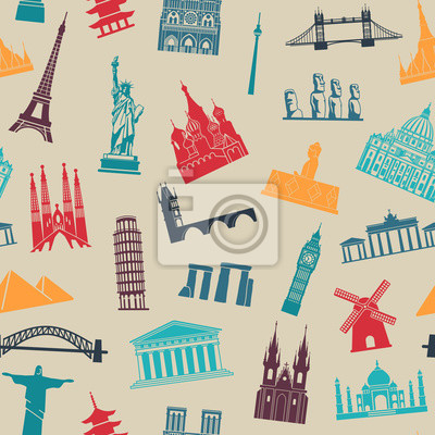 Seamless background with tourist attractions and architectural landmarks