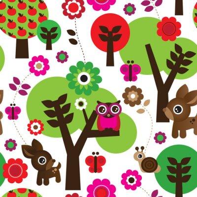 Bild Seamless Bauernhof Eule Baum Tier Muster im Vektor