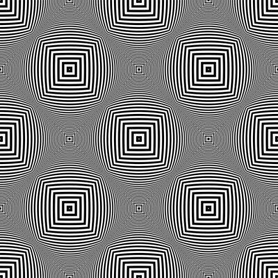 Seamless checked op art pattern. 3D texture.