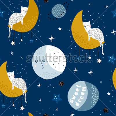 Bild Seamless childish pattern with cats on moons and starry sky. Creative kids texture for fabric, wrapping, textile, wallpaper, apparel. Vector illustration