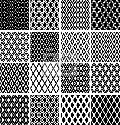 Seamless diamonds patterns. Geometric textures set.