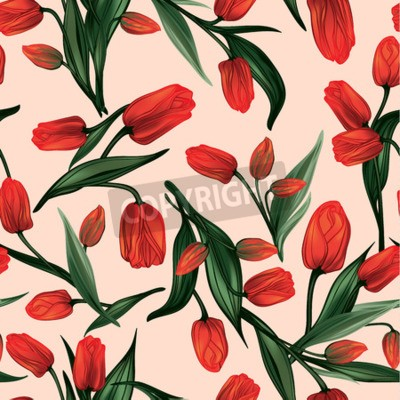 Bild Seamless floral pattern with of red tulips