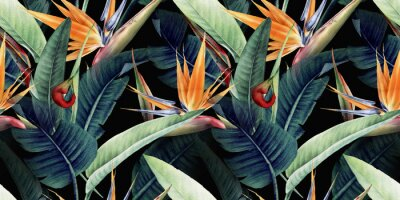Bild Seamless floral pattern with tropical leaves and strelitzia on red background. Template design for textiles, interior, clothes, wallpaper. Watercolor illustration