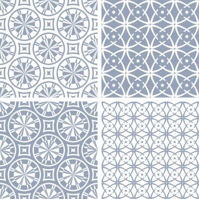 Seamless geometric circle lines patterns set.