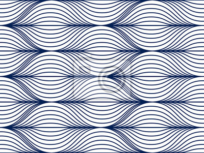 Seamless geometric pattern. Geometric simple fashion fabric print. Vector repeating tile texture. Wavy curve shapes trendy repeat motif. Single color, black and white.