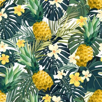 Bild Seamless hand drawn tropical vector pattern with exotic palm leaves, hibiscus flowers, pineapples and various plants on white background.