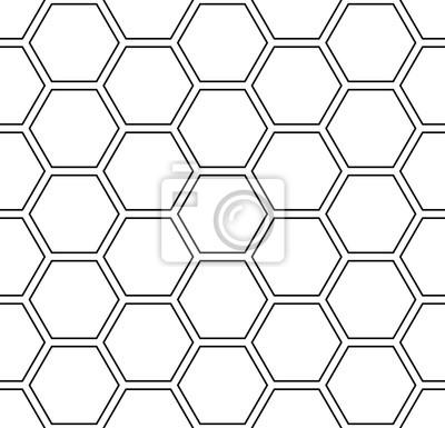 Seamless hexagons pattern. White geometric background.