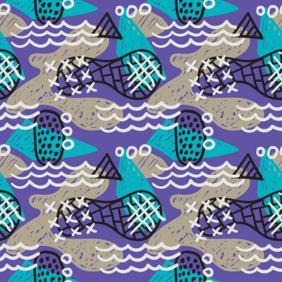 Seamless pattern of memphis style hand drawn simple vector elements. Scribble ethnic decoration for fabric design. Corporative colorful background.