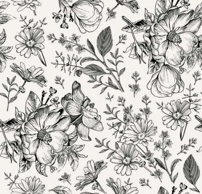 Bild Seamless pattern. Realistic blooming isolated flowers Vintage fabric background. Rosehip dogrose brier chamomile croton wildflowers. Wallpaper baroque. Drawing engraving. Vector victorian Illustration