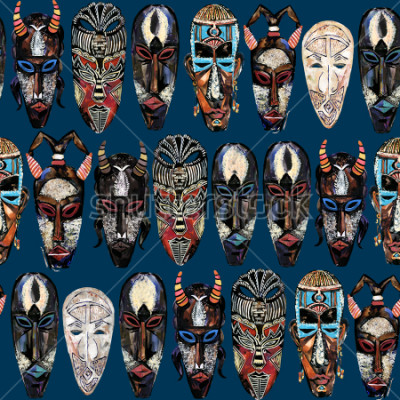 Bild seamless pattern with african mask. hand drawn ethnic tribal totem background