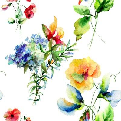 Bild Seamless pattern with Decorative summer flowers