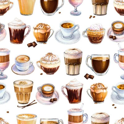 Bild Seamless pattern with different coffee drinks on white background. Illustration of espresso, latte and americano, cappuccino and other tasty coffee. Hand-drawn by markers, watercolor.