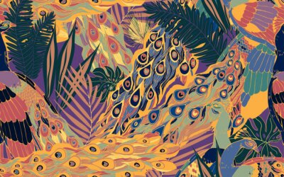 Bild Seamless pattern with large blue-green peacock tails and leaves of tropical palm trees.