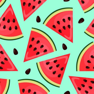 Bild Seamless pattern with pieces of watermelon on blue background. Endless print. Vector illustration.