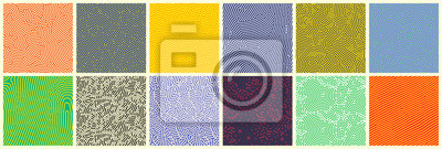 Bild Seamless patterns, abstract organic lines color backgrounds set. Biological patterns with yellow, purple and blue memphis dots, irregular squiggle lines and abstract shape texture