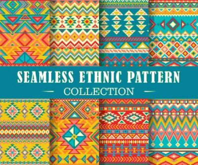 Bild Seamless set of geometric patterns. Vector ethnic design illustration. Tribal texture set. Patterns for stationery, package design, background, wallpaper, textile, web texture. Scrap booking paper.